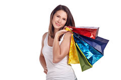 Young woman happy after shopping Stock Images