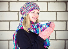 Young Woman happy smiling Face with coffee cup Winter time Royalty Free Stock Photography