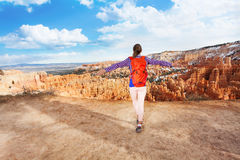 Young woman happy to see Bryce Canyon stock photos