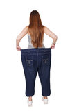 Young woman happy of weight loss diet results, isolated Stock Photos