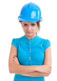 Young woman in hardhat Stock Photos