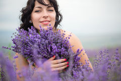Young woman harvesting lavender flowers Royalty Free Stock Photos
