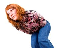 Young woman has abdominal pain Stock Photo