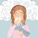 Young woman has an allergy, runny nose and cough. Allergic to dust, pollen, animals, medicines, food and insects. Flat design, vector cartoon illustration Royalty Free Stock Photography