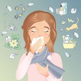 Young woman has an allergy, runny nose and cough. Allergic to dust, pollen, animals, medicines, food and insects. vector cartoon illustration Stock Photography