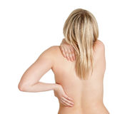 Young woman has back pain Royalty Free Stock Photo