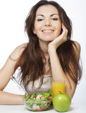 young woman has breakfast salad Royalty Free Stock Image