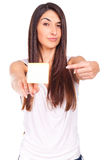 Young woman has a post-it note stuck on the hand Stock Photography