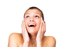 A young woman has problems with the skin Stock Photography