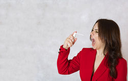 A young woman has a sore throat Royalty Free Stock Photography