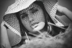 Young woman in a hat Stock Photo