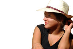 Young woman with hat Stock Photos