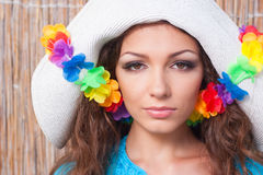 Young woman in a hat Stock Photos
