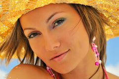 Young woman with hat Royalty Free Stock Photography