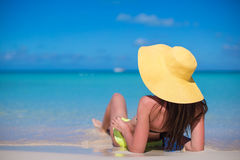 Young woman in hat on the beach enjoy caribbean Stock Photos