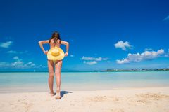 Young woman with hat on the beach enjoy caribbean Stock Images