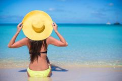 Young woman in hat on the beach enjoy caribbean Stock Photography