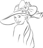 Young woman with hat - black outline  Stock Image