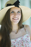 Young woman with hat. Young blue eyes woman with hat royalty free stock photography
