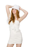 The young woman in hat and elegant dress isolated on white Royalty Free Stock Photos