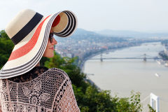 Young woman in hat enjoying Budapest panorama Stock Photography