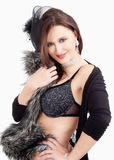 Young Woman with Hat and Fur in her Bra, Smiling Stock Photography