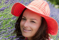 Young woman with hat in a lavender field Stock Photography