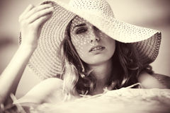 Young woman in a hat portrait Royalty Free Stock Image