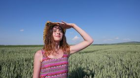 Young woman in a hat standing on a wheat field with blue sky on the background stock video