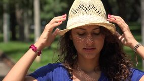 Young Woman With Hat stock video footage