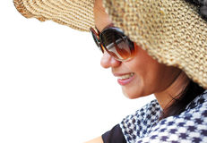 Young woman in a hat and sunglasses Stock Photo