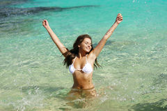 Young woman have fun in water Royalty Free Stock Photography