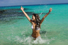 Young woman have fun in water Royalty Free Stock Photo