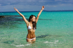 Young woman have fun in water Royalty Free Stock Image