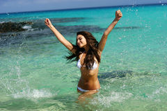 Young woman have fun in water Royalty Free Stock Photos