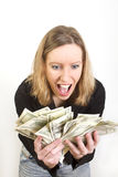 Young woman have lots of dollars in her hands Royalty Free Stock Photo