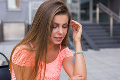 Young woman have a terrible headache. It can be migraine. Stock Photography