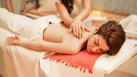 Free Young Woman Having Back Therapy Massage In Spa Resort Hotel Salon - Female Enjoying Relaxing Thai Massage - Body Care, Skin Care, Stock Images - 169960644