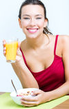 Young Woman Having Breakfast At Home Stock Photos