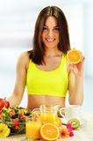 Young woman having breakfast. Balanced diet Stock Photo