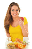 Young woman having breakfast. Balanced diet.  Stock Images
