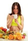Young woman having breakfast. Balanced diet Stock Photos