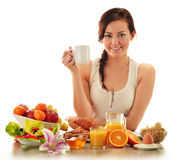 Young woman having breakfast. Balanced diet Stock Photos