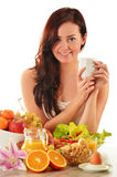 Young woman having breakfast. Balanced diet Royalty Free Stock Photo