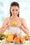 Young woman having breakfast. Balanced diet Stock Photo