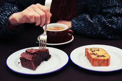 Free Young Woman Having Coffee And Cake Royalty Free Stock Images - 46169769