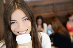 Young Woman Having Coffee In Cafe Royalty Free Stock Photography