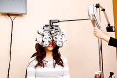 Young woman having eyes tested Stock Image