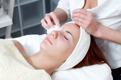 Woman having facial beauty treatment Royalty Free Stock Photos