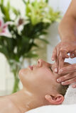 Young Woman Having Facial Massage Treatment Stock Image